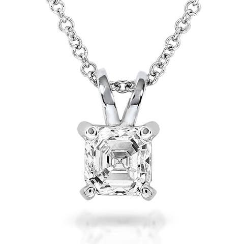 Annello by Kobelli 14k White Gold 1/2 Carat Asscher Solitaire Diamond Necklace (H-I, SI1)