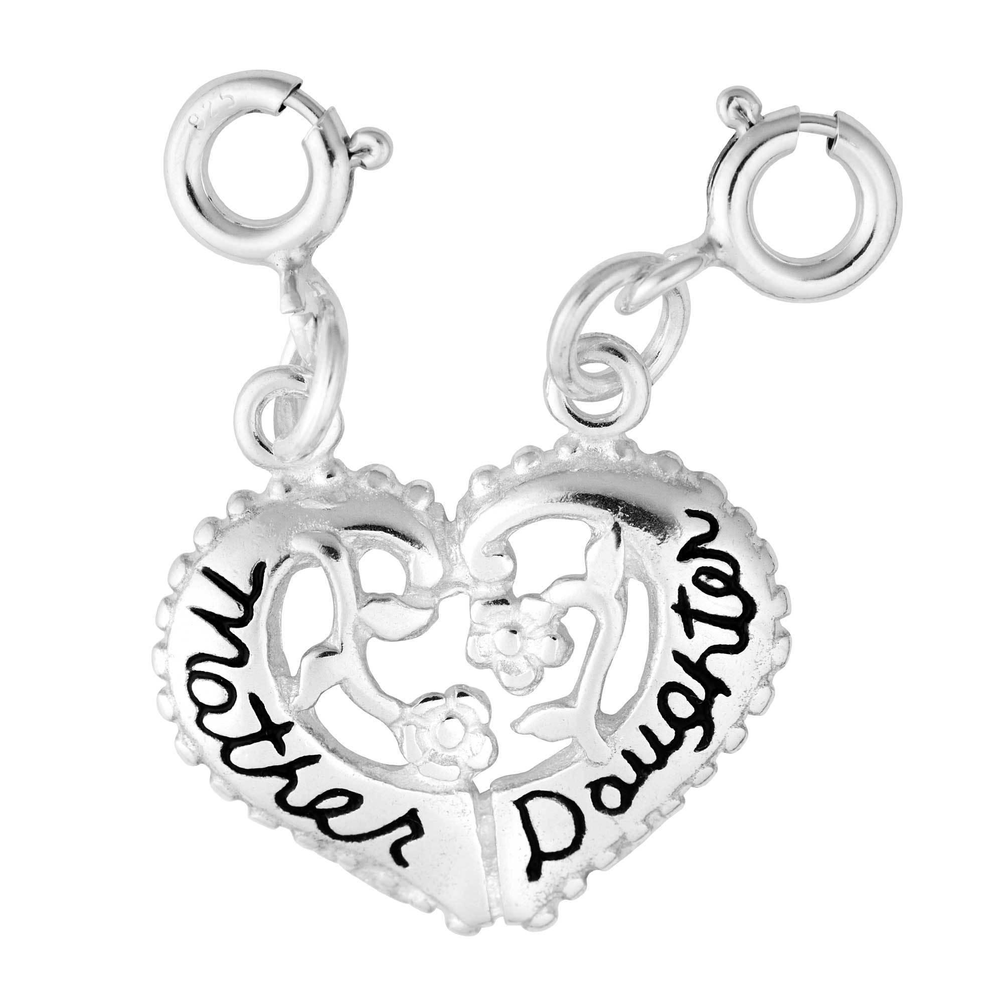Sterling Silver Mother Daughter Split Heart Charm (Heart)...