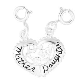 Sterling Silver Mother Daughter Split Heart Charm