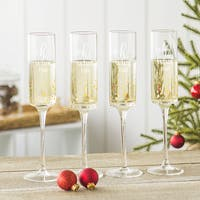 Oh What Fun 8 oz. Gold Dot Contemporary Champagne Flutes (Set of 4)
