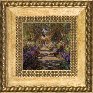 Claude Monet 'Garden Path at Giverny' Pre-Framed Miniature Print on Canvas