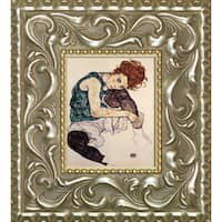 Egon Schiele 'Seated Woman with Bent Knee' Pre-Framed Miniature Print on Canvas