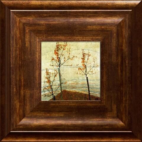 Egon Schiele 'Autumn Trees' Pre-Framed Miniature Print on Canvas