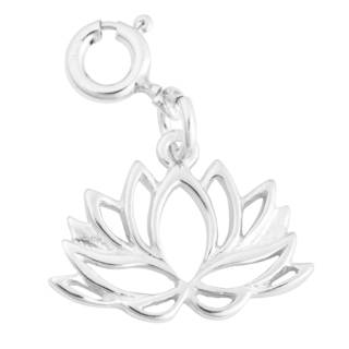 Sterling Silver Lotus Flower Outline Charm