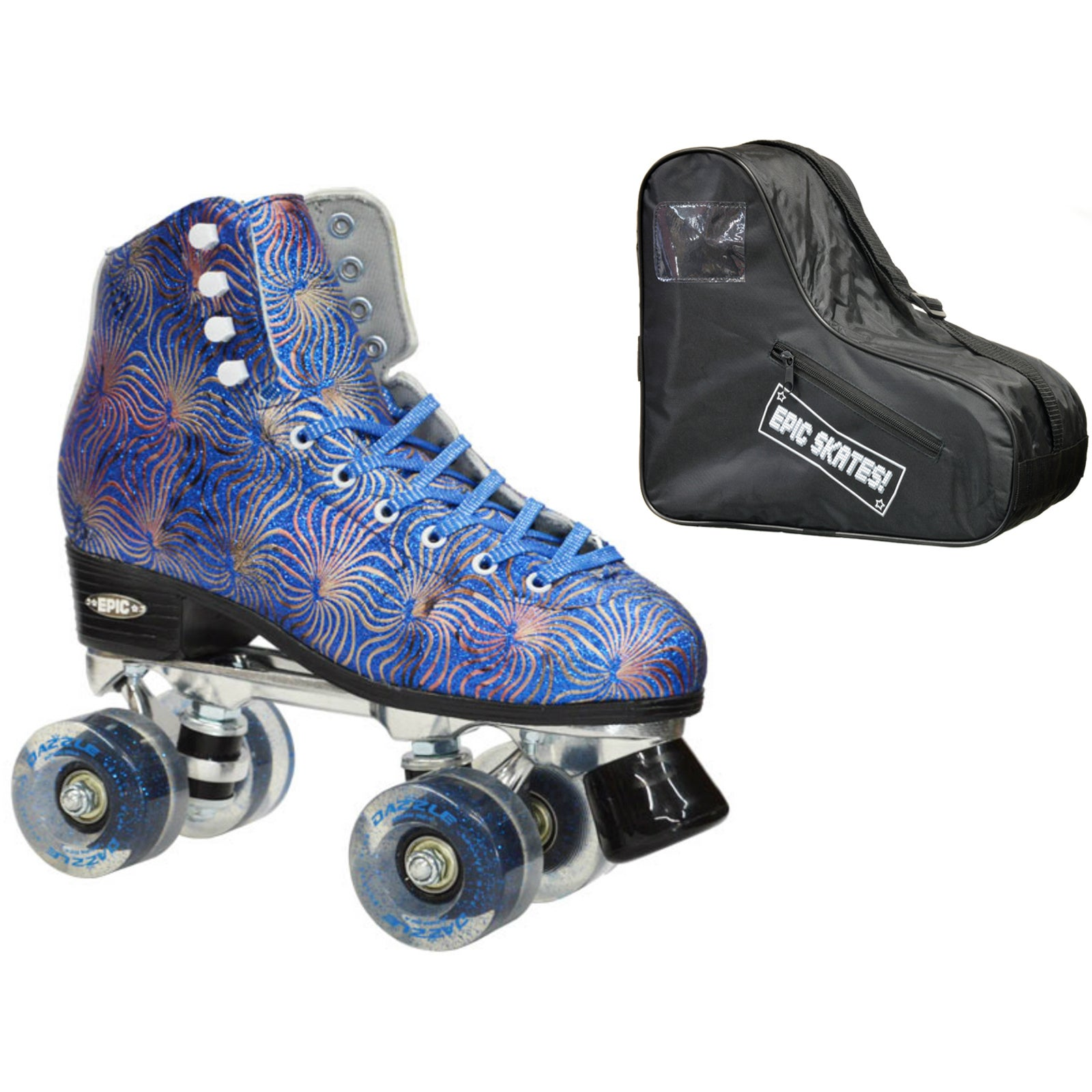 Epic Dazzle Bundle Blue High-Top Quad Roller Skates (Ladi...