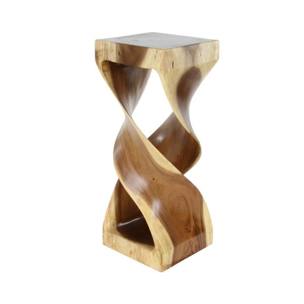 Benzara Brown Wood Hourgl Shaped Side Table