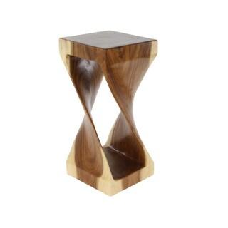 Benzara Flickering Brown Shade Wood Side Table