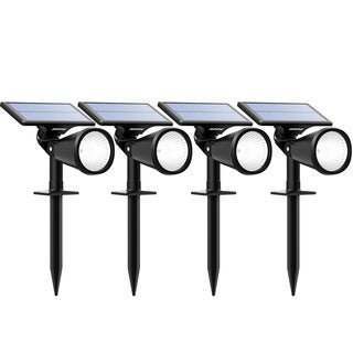 Solar Powered Outdoor Wall/In-ground Spotlight with Adjustable Solar Panel and 2 Brightness Levels