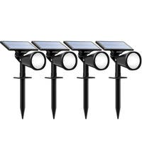 Solar Powered Landscape Lighting Spotlight Wall Light Auto On/Off for Yard Garden Driveway Pathway Pool Pack of 4