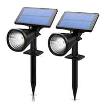 Solar Spotlight, 2-in-1 Solar Powered Outdoor Wall/In-ground Spotlight with Adjustable Solar Panel and 2 Brightness Levels