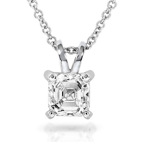 Annello by Kobelli 14k White Gold 3/4 Carat Asscher Solitaire Diamond Necklace (H-I, SI1)