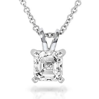 Annello by Kobelli 14k White Gold 3/4 Carat Asscher Solitaire Diamond Necklace (H-I, SI1)