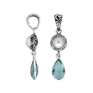 Handmade Artisan-made Sterling Silver Pearl and Blue Topaz Double Drop Pendant (Indonesia)