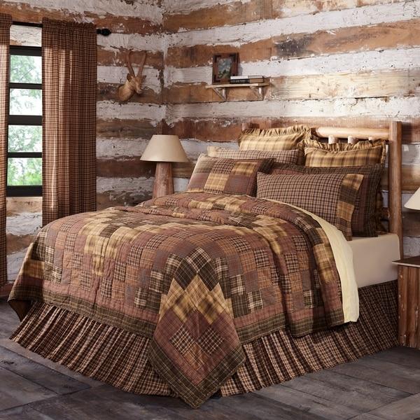 Brown Rustic Bedding VHC Prescott Quilt Cotton Patchwork