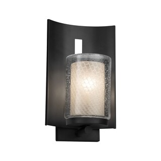 Justice Design Fusion Embark Matte Black Outdoor Wall Sconce - Weave Cylinder with Flat Rim