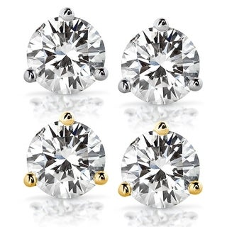 Link to Annello by Kobelli 14k Gold 2 Carats TGW Round Brilliant-cut 6.5MM Moissanite (H-I) Classic Solitaire Stud Earrings Similar Items in Earrings