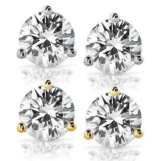 Annello by Kobelli 14k Gold 2 Carats TGW Round Brilliant-cut 6.5MM Moissanite (H-I) Classic Solitaire Stud Earrings