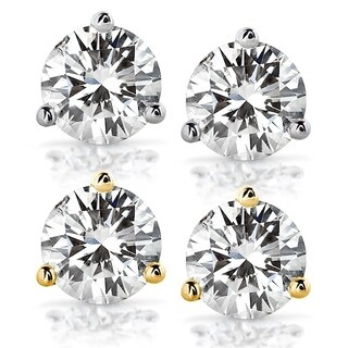 Annello by Kobelli 14k Gold 2 Carats TGW Round Brilliant-cut 6.5MM Moissanite (H-I) Classic Solitaire Stud Earrings (2 options available)