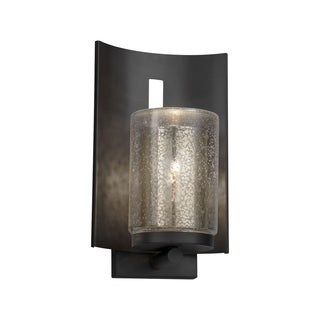 Justice Design Group Fusion Embark 1-light Matte Black Outdoor Wall Sconce, Mercury Cylinder - Flat Rim Shade
