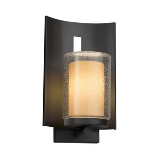 Justice Design Group Fusion Embark 1-light Matte Black Outdoor Wall Sconce, Almond Cylinder - Flat Rim Shade