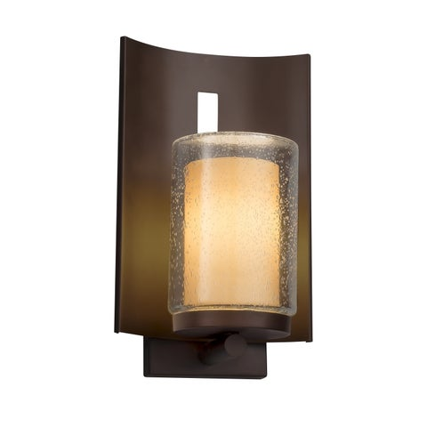 Justice Design Group Fusion Embark 1-light Dark Bronze Outdoor Wall Sconce, Almond Cylinder - Flat Rim Shade