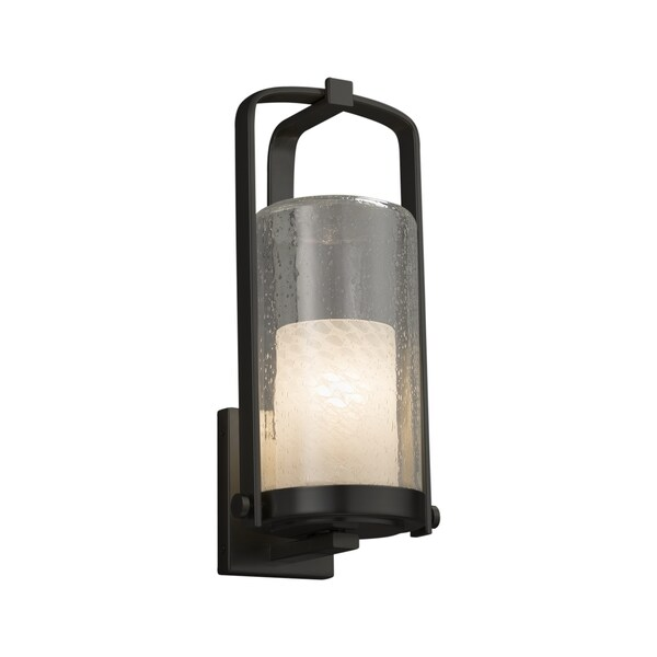Justice Design Group Fusion Atlantic 1-light Matte Black Outdoor Wall Sconce, Weave Cylinder - Flat Rim Shade