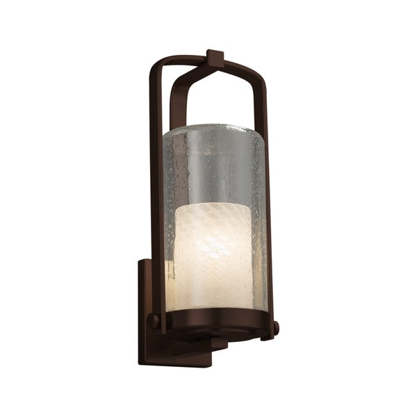 Justice Design Group Fusion Atlantic 1-light Dark Bronze Outdoor Wall Sconce, Weave Cylinder - Flat Rim Shade