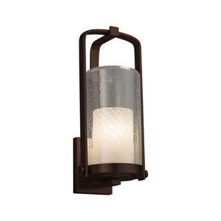 Justice Design Fusion Atlantic Dark Bronze Large Outdoor Wall Sconce - Weave Cylinder with Flat Rim