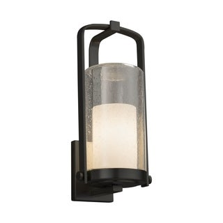 Justice Design Fusion Atlantic Matte Black Large Outdoor Wall Sconce - Opal Cylinder with Flat Rim