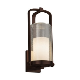 Justice Design Fusion Atlantic Dark Bronze Large Outdoor Wall Sconce - Opal Cylinder with Flat Rim
