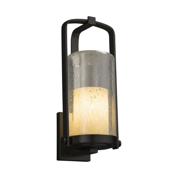 Justice Design Group Fusion Atlantic 1-light Matte Black Outdoor Wall Sconce, Droplet Cylinder - Flat Rim Shade