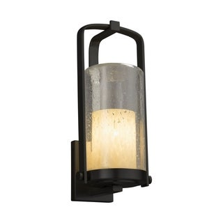 Justice Design Fusion Atlantic Matte Black Large Outdoor Wall Sconce - Droplet Cylinder with Flat Rim