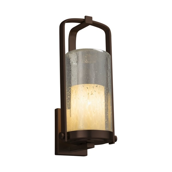 Justice Design Group Fusion Atlantic 1-light Dark Bronze Outdoor Wall Sconce, Droplet Cylinder - Flat Rim Shade