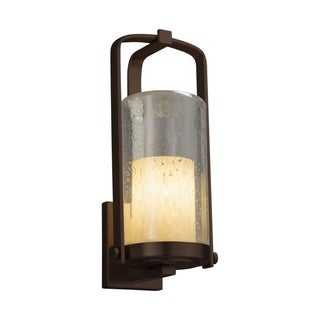 Justice Design Fusion Atlantic Dark Bronze Large Outdoor Wall Sconce - Droplet Cylinder with Flat Rim