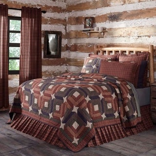 Red Rustic Bedding VHC Parker Quilt Cotton Star Patchwork