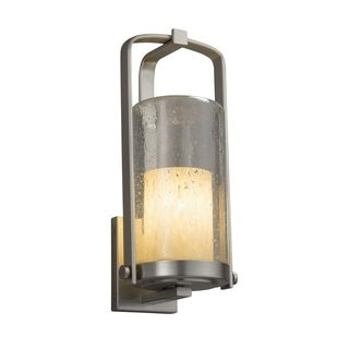 Justice Design Group Fusion Atlantic 1-light Brushed Nickel Outdoor Wall Sconce, Droplet Cylinder - Flat Rim Shade