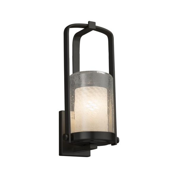 Justice Design Group Fusion Atlantic 1-light Matte Black Small Outdoor Wall Sconce, Weave Cylinder - Flat Rim Shade