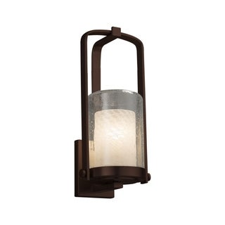 Justice Design Group Fusion Atlantic 1-light Dark Bronze Small Outdoor Wall Sconce, Weave Cylinder - Flat Rim Shade
