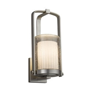 Justice Design Group Fusion Atlantic 1-light Brushed Nickel Small Outdoor Wall Sconce, Ribbon Cylinder - Flat Rim Shade