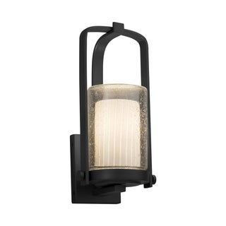 Justice Design Fusion Atlantic Matte Black Small Outdoor Wall Sconce - Ribbon Cylinder with Flat Rim