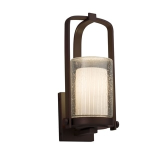 Justice Design Group Fusion Atlantic 1-light Dark Bronze Small Outdoor Wall Sconce, Ribbon Cylinder - Flat Rim Shade