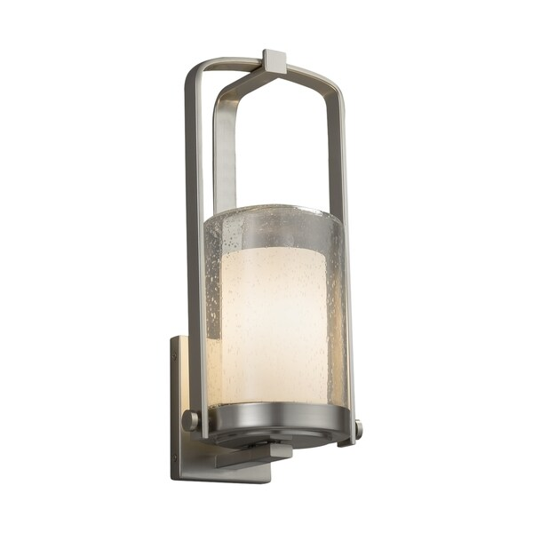 Justice Design Group Fusion Atlantic 1-light Brushed Nickel Small Outdoor Wall Sconce, Opal Cylinder - Flat Rim Shade