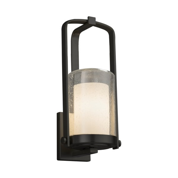 Justice Design Group Fusion Atlantic 1-light Matte Black Small Outdoor Wall Sconce, Opal Cylinder - Flat Rim Shade