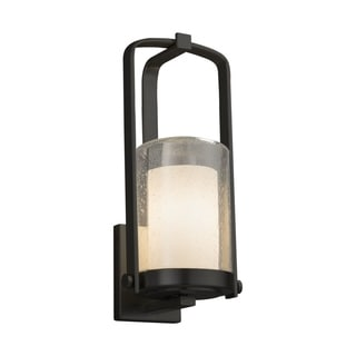 Justice Design Fusion Atlantic Matte Black Small Outdoor Wall Sconce - Opal Cylinder with Flat Rim