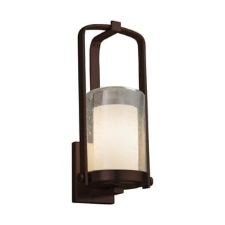 Justice Design Group Fusion Atlantic 1-light Dark Bronze Small Outdoor Wall Sconce, Opal Cylinder - Flat Rim Shade