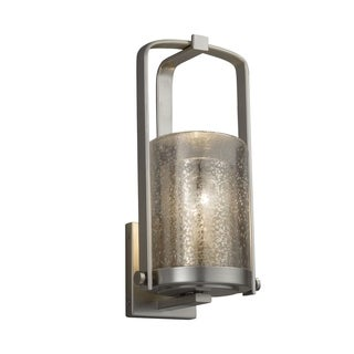 Justice Design Group Fusion Atlantic 1-light Brushed Nickel Small Outdoor Wall Sconce, Mercury Cylinder - Flat Rim Shade