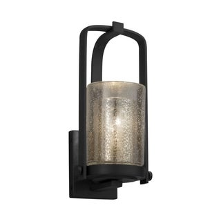 Justice Design Fusion Atlantic Matte Black Small Outdoor Wall Sconce, Mercury Cylinder with Flat Rim
