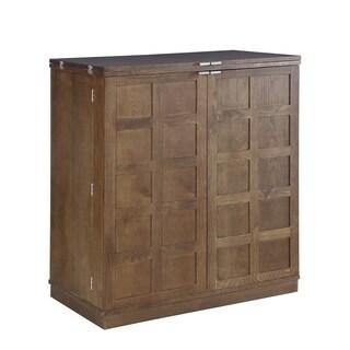 Proman California Fold-A-Way Brown Wood Bar Cabinet