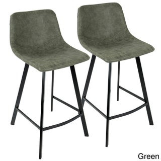 Outlaw Industrial Counter Stool in Metal and Faux Leather (Set of 2)