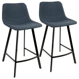 Outlaw Industrial Counter Stool in Metal and Faux Leather (Set of 2) - N/A